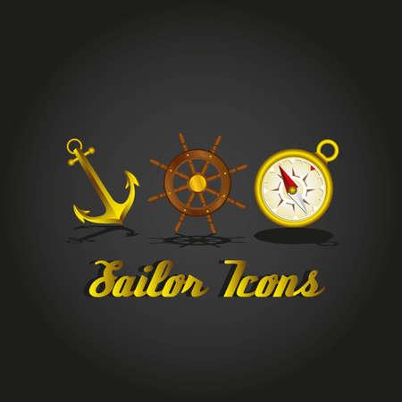 wind wheel: ancora, il timone della nave, bussola icone marinaio, illustrazione vettoriale