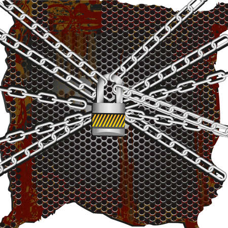 background of metal chains lock together on a rusty metal background Vector