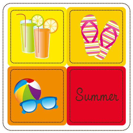 icon set Vector illustration of summer