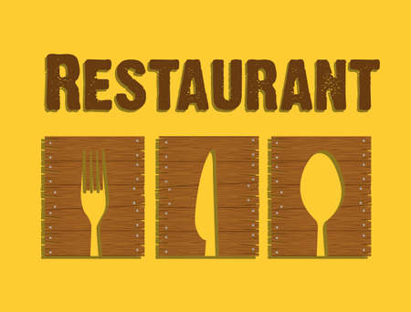 wooden sign for a restaurant on a yellow background Vector