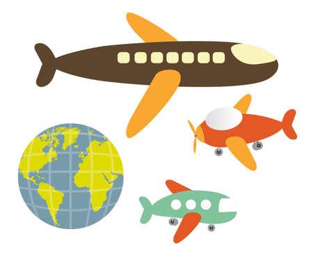 set of cartoons of planes, vector illustration Stock Vector - 13563595