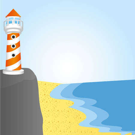 background of a lighthouse cliff, vector illustration Stock Vector - 13563610