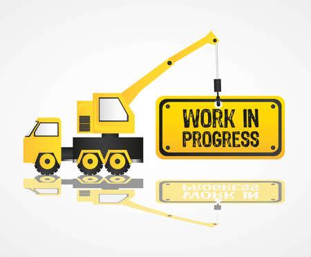 camion grua: dise�o de la gr�a, el trabajo en progreso, ilustraci�n vectorial
