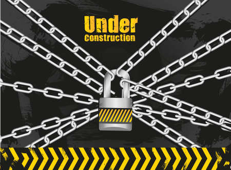 link chain with padlock on grunge background vector illustration Vector