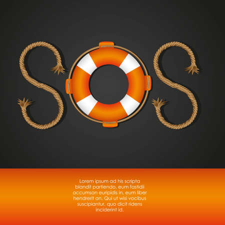rescue circle: rope and float forming SOS signal, vector illustration