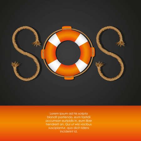 überleben: Seil und Schwimmer bilden SOS-Signal, Vektor-Illustration