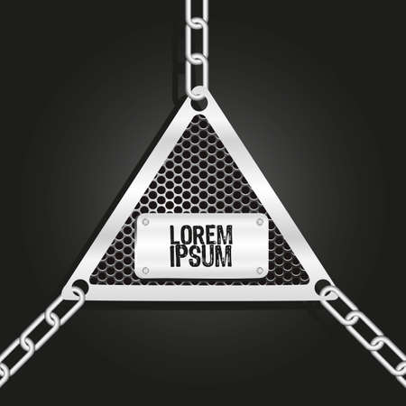 rusty padlock: metal label, hung with chains of links, vector illustration