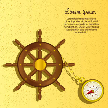 Boat Rudder with compass, on a background of sea sand, vector illustration Vector