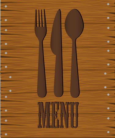 table surface: restaurant background with a fork on a wooden background, vector illustration