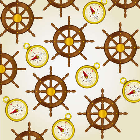 pattern of compasses and rudders of boats on a light background, vector illustration Vector