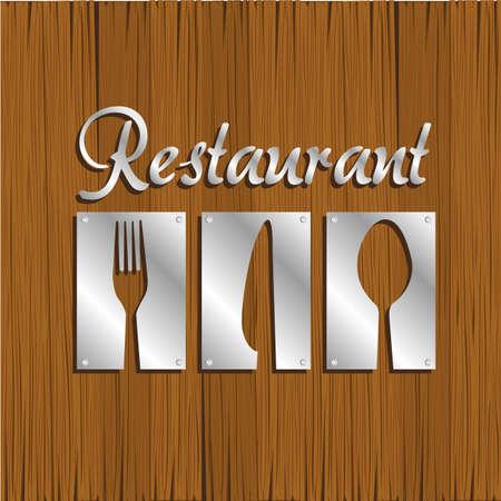 talher: Restaurant background silver metal on wood, vector illustration Ilustra��o