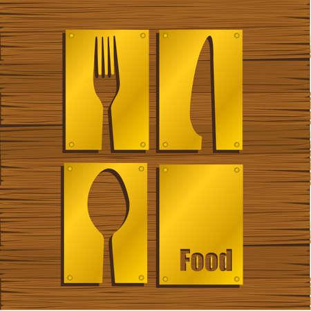 Restaurant background gold metal on wood, vector illustration