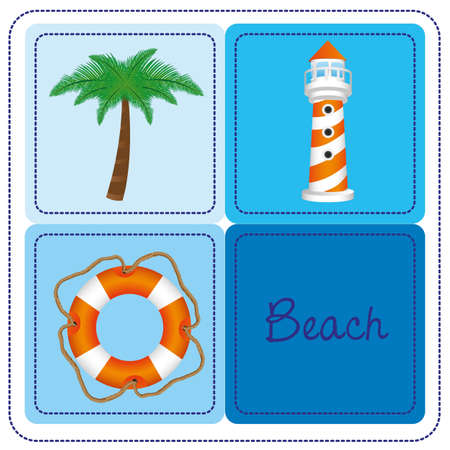 beach background elements colored background, contains palm, float, and lamp, vector illustration Stock Vector - 13563635