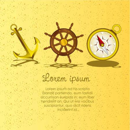 wind wheel: icone marinaio, containes: ancora, timone della nave, bussola, illustrazione vettoriale