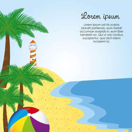 coast guard: de fondo de un faro con las palmas y la pelota, ilustraci�n vectorial Vectores