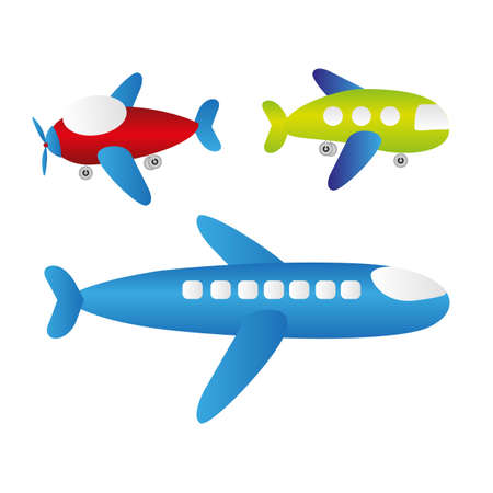 small plane: set of cartoons of planes, vector illustration