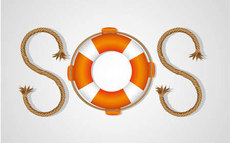 preserver: rope and float forming SOS signal, isolated on white background, vector illustration