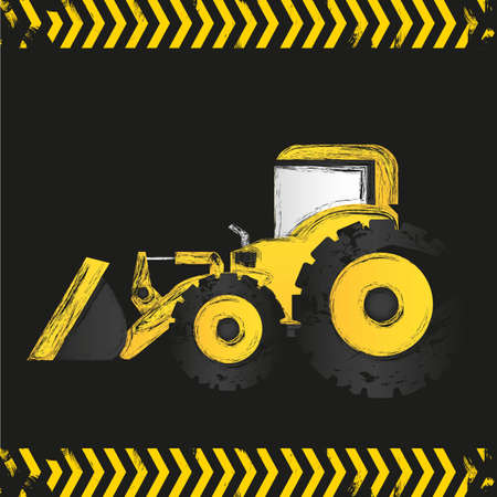 grunge backhoe black background, vector illustration Vector