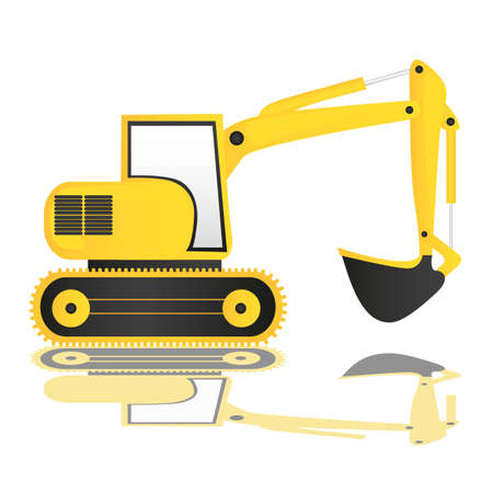 construction equipment: backhoe on white background with reflection, vector illustration