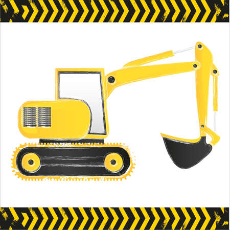 grunge backhoe on white background with lines Vector