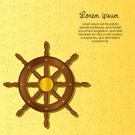 Boat Rudder on a sandy sea, vector illustration Vector
