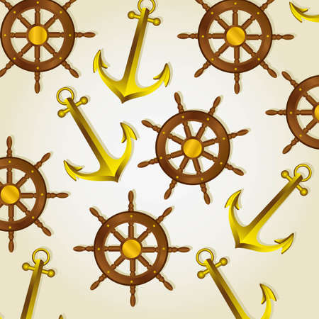 pattern of anchors and boat rudders on a light background, vector illustration Stock Vector - 13563615
