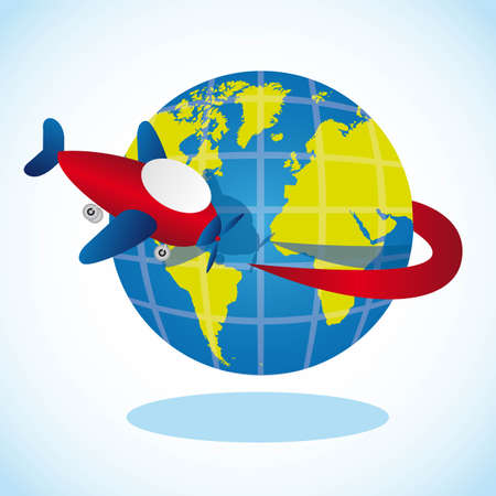 small world: plane going around the planet, vector illustration Illustration