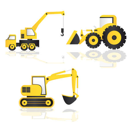 excavator: caricature of construction machinery, vector illustration