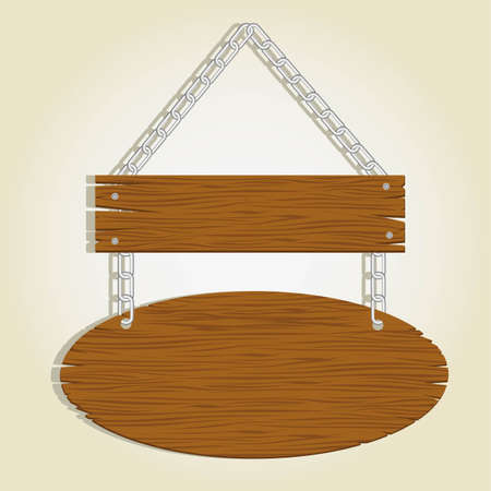pine nut: wooden boards with chain for messages, vector illustration Illustration