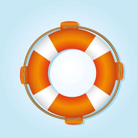 salvavidas: flotador salvavidas, naranja y blanco, sobre fondo azul Vectores