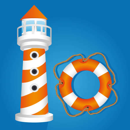 lighthouse boat  and float isolated on black background, vector illustration