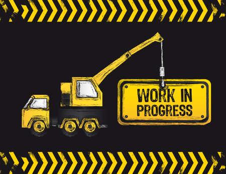 cartwheel: crane design, work in progress, vector illustration