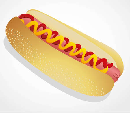 illustration of a hot dog isolated on a white background Vector