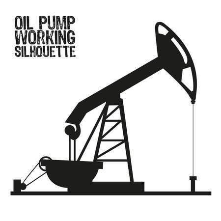oilfield: Silhouette of oil pump isolated on a white background