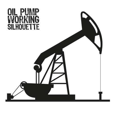 oilfield: Silueta de la bomba de aceite aislado en un fondo blanco Vectores