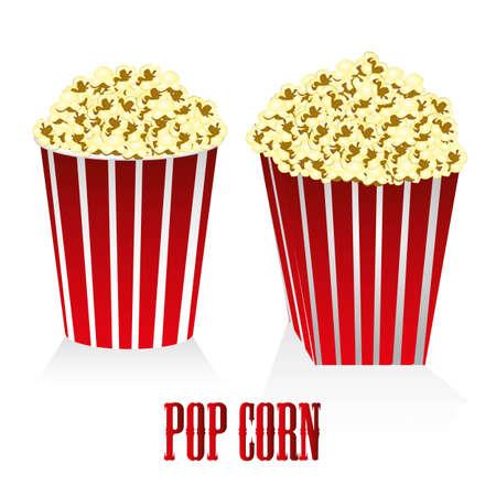pop corn: a box of popcorn circular and square box of popcorn Illustration