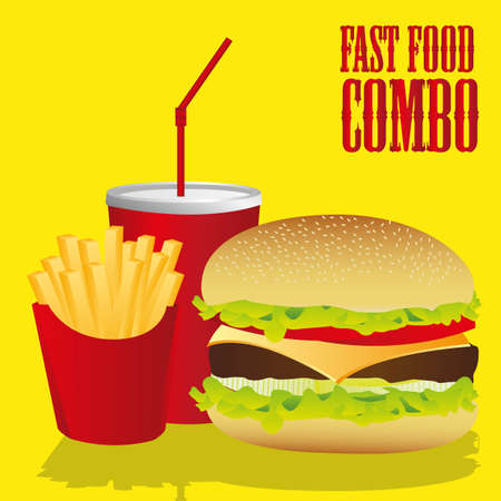 fast food combo with a hamburger, french fries and soda Vector