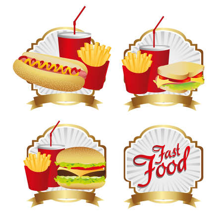 sesame seed: labels fast food combo with a burguer french fries, soda, hot dog, and sandwich  Illustration