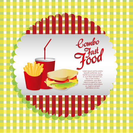 leaf lettuce: labels fast food combo with a  french fries, soda and sandwich Illustration