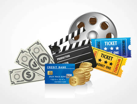 cinematograph: background of movies, contains entries, coins, bills, credit card and movies