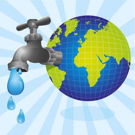 llave de agua: grifos conceptual a partir de la tierra del planeta y el goteo