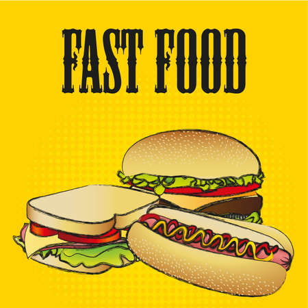 fast food combo with a hamburger,  a hot dog and a sandwich Vector