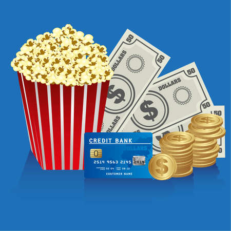 popcorn with coins, bills and credit card Vector