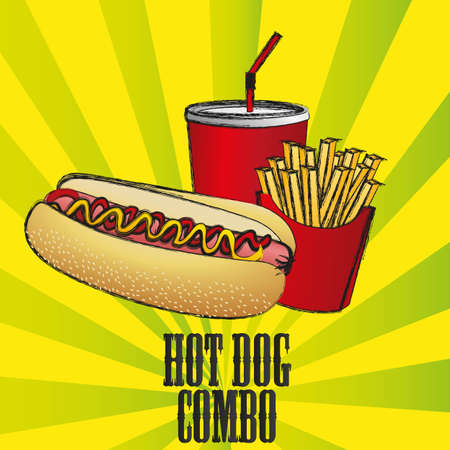 fast food combo with a hot dog, french fries and soda Illustration