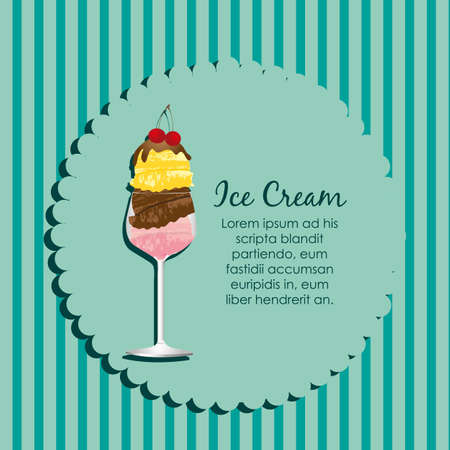label of an ice cream on a blue background stripes Vector