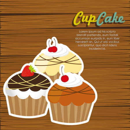cupcakes on wooden background  Vector
