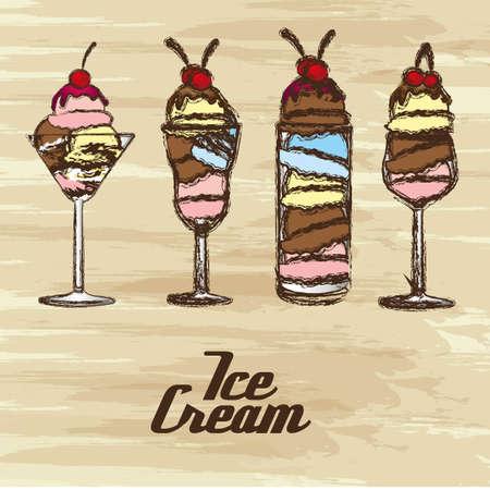grunge edged ice creams on a cream background Vector
