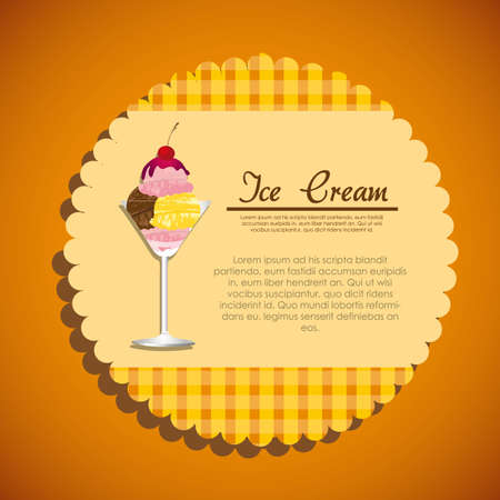 label of a ice cream on a orange background Vector
