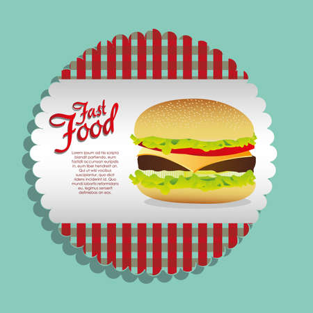 american cuisine: label burger on a blue background, vector illustration