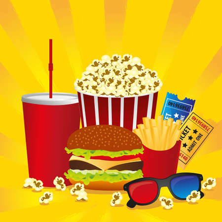Cine fast food combo with a burger french fries, soda, tickets, pop corn and 3d glasses Vector
